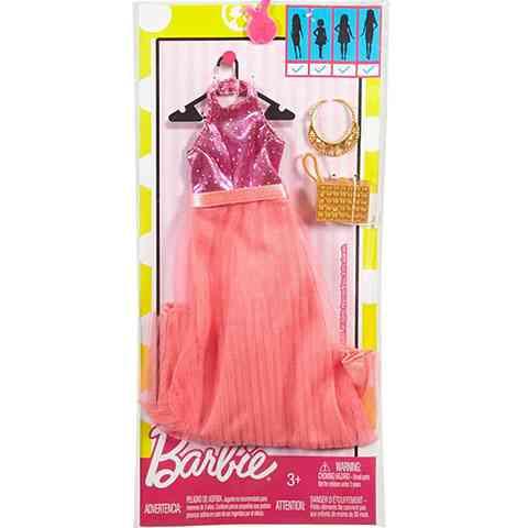 Barbie Rózsaszín ruha barack színű szoknyával - Mattel vásárlás a ... e45e3d9f15
