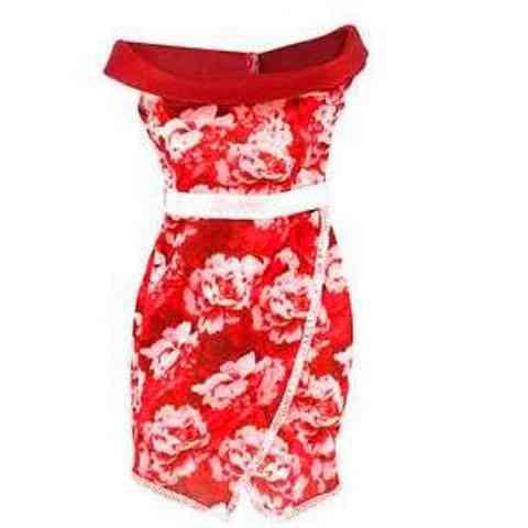 39c47de01f Barbie Piros-fehér mintás ruha - Mattel vásárlás a Játékshopban