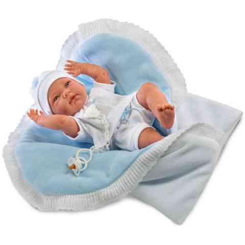 Nico újszülött baba kifordítható takaróval kék ruhában 40cm-es - Llorens c0348d5cbd