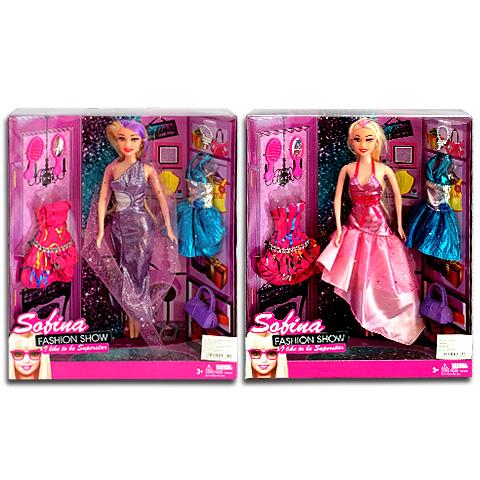 Sofina Fashion Show party ruhás baba extra ruhákkal és kiegészítőkkel 2  változatban 943fc87174