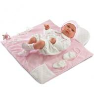 Tina újszülött lány baba pléddel rózsaszín ruhában 43cm-es - Llorens a484e1233c